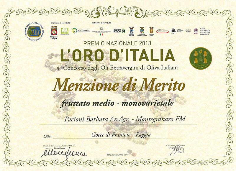L'ORO D'ITALIA - menzione di merito