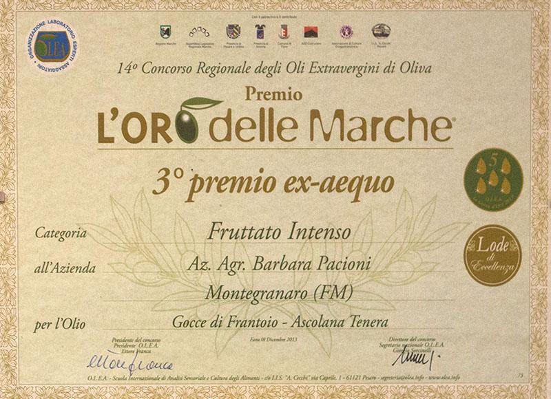L'ORO delle MARCHE - 3° premio