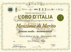 L'ORO D'ITALIA<br>menzione di merito