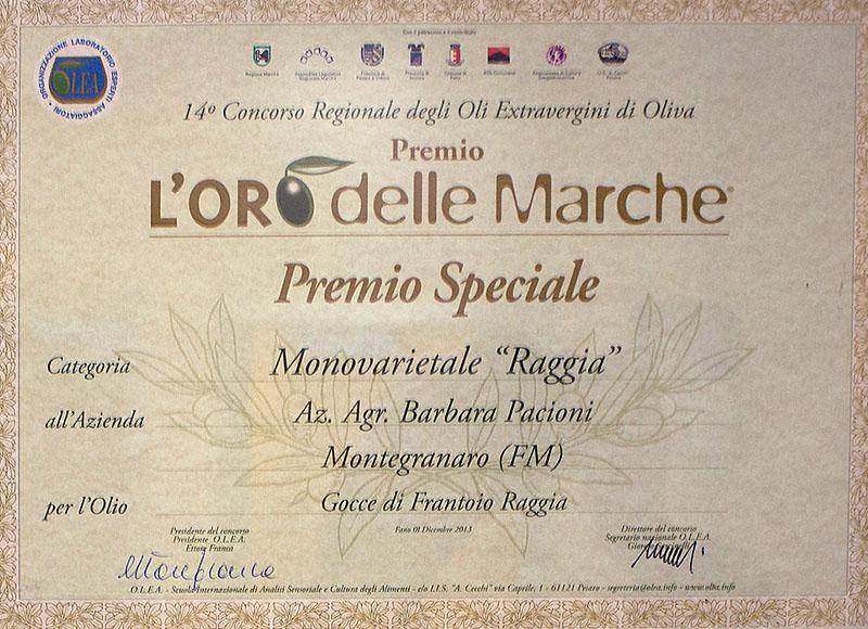 L'ORO delle MARCHE<br>premio speciale
